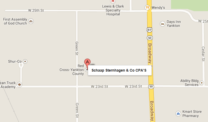Map showing the location of Schaap, Sternhagen and Co. CPA's. A CPA firm in Yankton, SD
